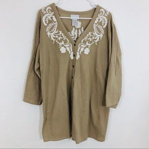Soft Surroundings tan embroidered tunic top XLrg
